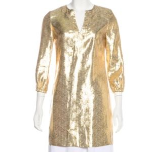 Tory Burch Gold Metallic Tunic Dress  - 2